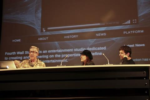From left, ARTE France Cinema topper Michel Reilhac and directors Athina Rachel Tsangari (Attenberg) and Menelos Karamaghiolis (J.A.C.E.) at the Transmedia presentation and round table.